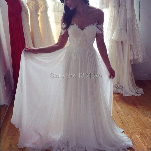 Summer-Beach-Lace-Long-Wedding-Dresses-2016-Pleated-Chiffon-Off-the-Shoulder-Floor-Length-A-line (1)