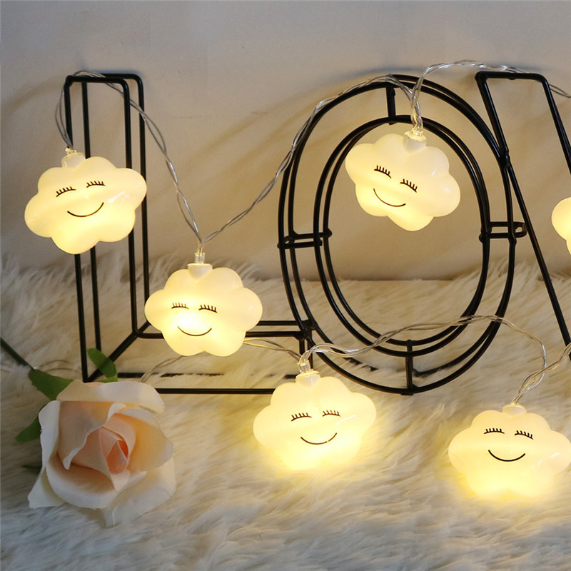 10 Leds LED Cloud Smile Face String Lights Battery Indoor Decoration Light Garden/Party/Wedding/Living Room Luminaria Garland