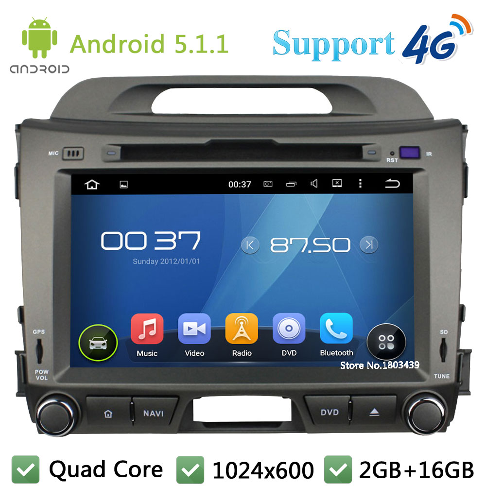 Quad Core 8 1024 600 2DIN Android 5 1 1 Car DVD Video Player Radio BT