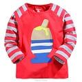 Nuevo 2017 Marca 100% Algodón de Los Bebés camisetas Ropa de Niños Ropa de Niños Chicos de Manga Larga camisetas Blusa de Las Camisetas Niños