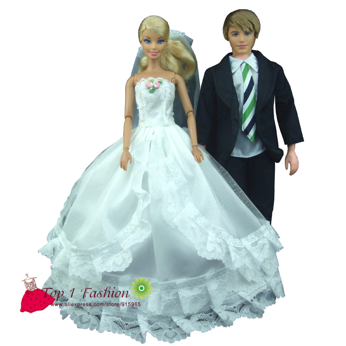 Free Shipping 2 sets  White Lace bride wedding dress with veil for barbie doll  suit clothes