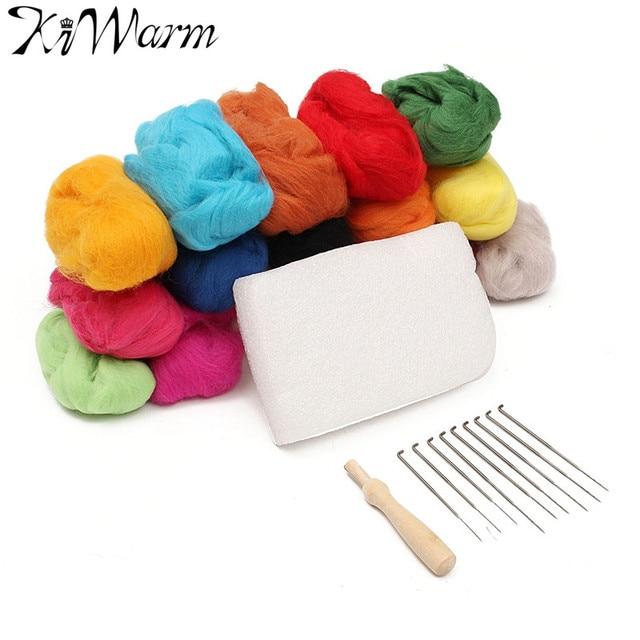 Kiwarm 16 Colors Wool Felt with 9 Needles Felting Handle Mat Set Starter Kit For DIY Art Handwork Doll Crafts Home Sewing Tools