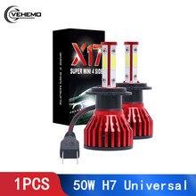 цена на VEHEMO Universal Auto Lamp Headlight Bulbs Car Light 50W Led  H7 Super Bright 6000K 9006/HB4 Fog Light Conversion Kit