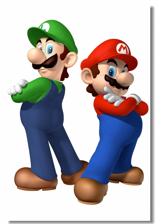 Custom Canvas Wall Paintings Super Mario Bros Poster Luigi Mario