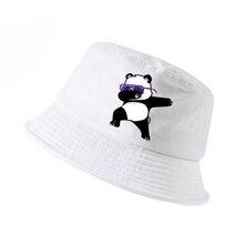 New Cartoon panda Funny bucket hat Fashion men women cotton k pop panama fisherman hats lovely outdoor hunting fishing cap bone