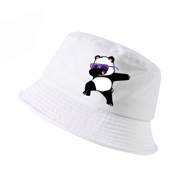New Cartoon panda Funny bucket hat Fashion men women cotton k pop panama  fisherman hats lovely e782a48827