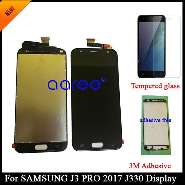 Yapıştırıcı + % 100% test edilmiş Samsung J3 2017 J330 LCD J330F J330 ekran LCD ekran dokunmatik sayısallaştırıcı tertibatı, değil J327