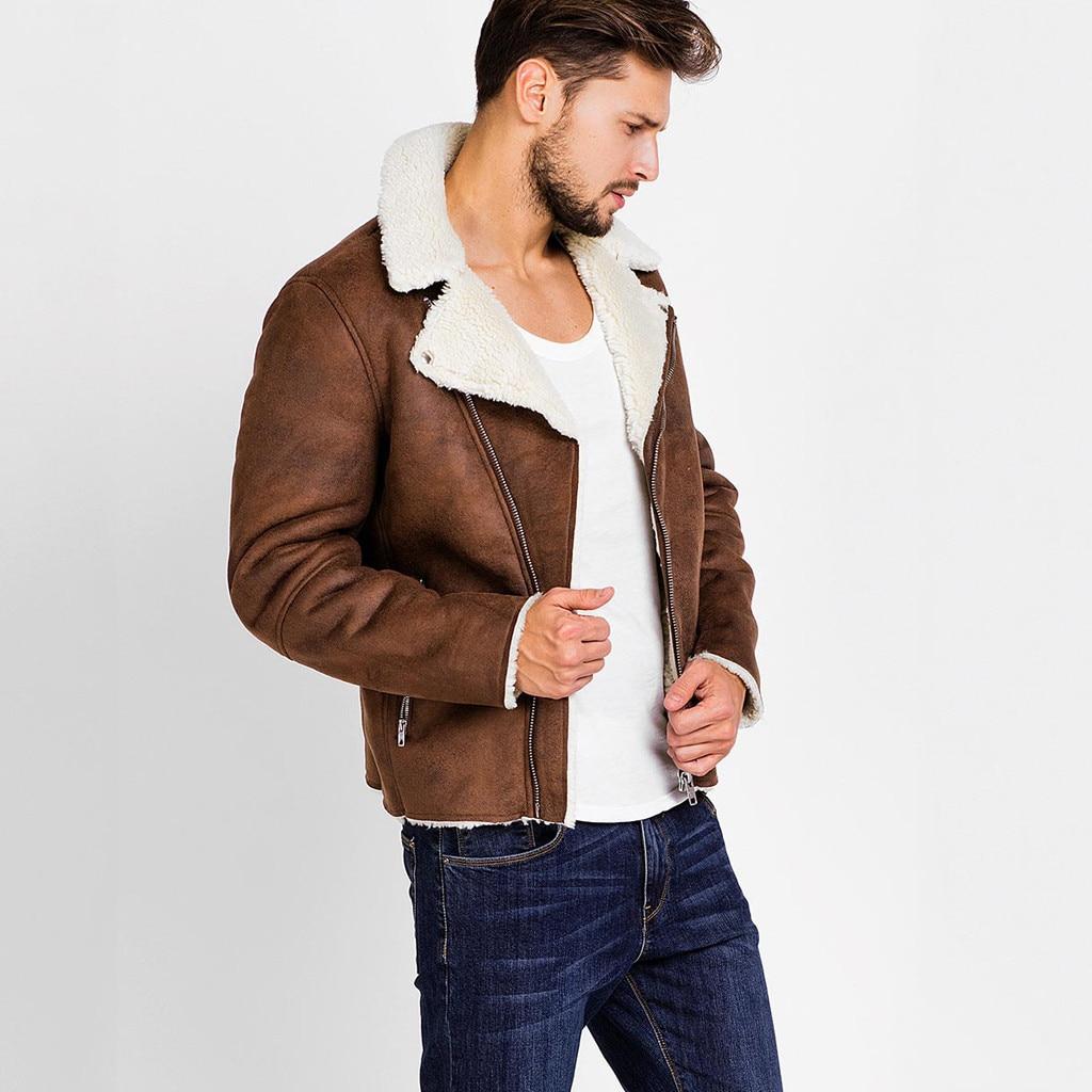 HTB1g1CaXVT7gK0jSZFpq6yTkpXaS Zipper Closure for Men Leather Jacket Autumn Winter Warm Fur Lining Lapel Leather outerwear layer дубленка мужская кожаная Coat