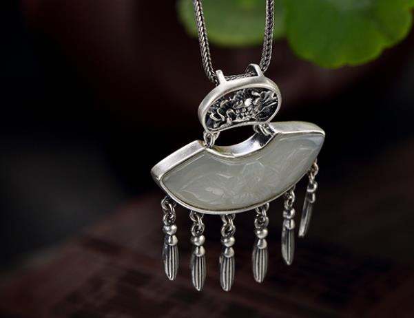 Sterling S925 925 silver charm Pendant necklace natural stone 41*31MMSterling S925 925 silver charm Pendant necklace natural stone 41*31MM