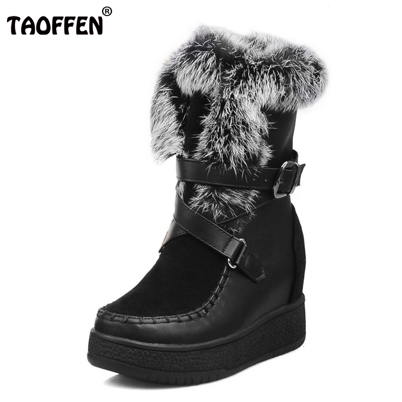 TAOFFEN Size 33-40 Women Mid Calf Snow Boots Metal Buckle Thick Fur Platform Boots Trifle Winter Shoes Warm Botas Woman Footwear kemekiss women warm plush warm snow boots for women thick platform ankle botas female thick fur winter footwear size 36 40