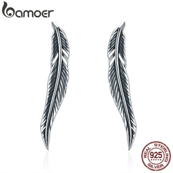 BAMOER Authentic 100% 925 Sterling Silver Feathers Wing Stud Earrings With White Clear CZ for Women Anniversary Jewelry SCE258