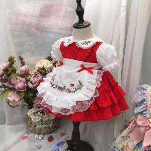 Image 2 - 1 6Y תינוק בנות אדום בציר ספרדית Pompom שמלת שמלת תחרה לוליטה שמלת נסיכת שמלת בנות חג המולד מסיבת יום הולדת שמלה
