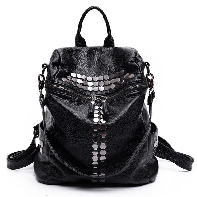 2018 Fashion Female Leisure Bag Mochilas Women Backpacks Rivet Black Soft Washed Leather Bag Schoolbags For Girls