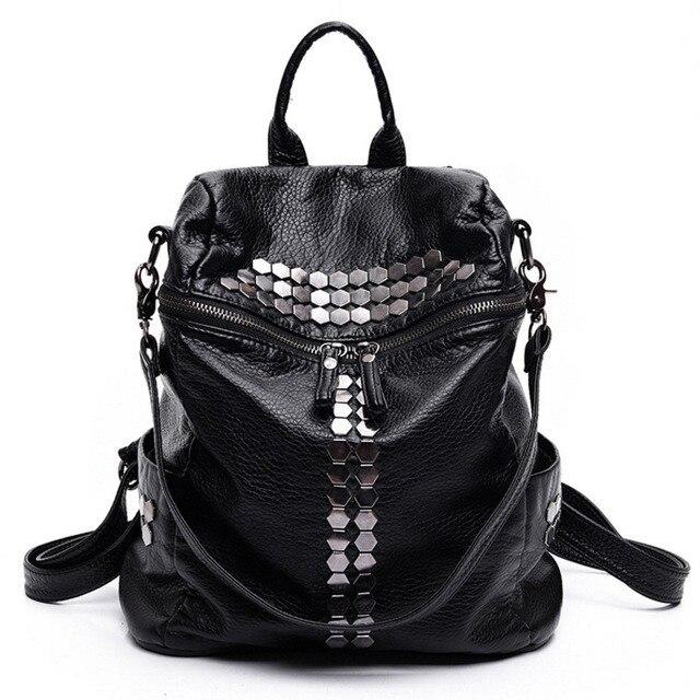 2018 Mode Weibliche Tasche Mochilas Frauen Rucksäcke Niet Schwarz Weiche Gewaschen Leder Bag Schultaschen Für Mädchen