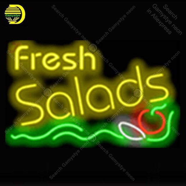 Fresh Salads Food NEON LIGHT SIGN Neon Sign lamp Decorate GLASS Tube BEER PUB Store Display Handcraft Iconic Sign personalized