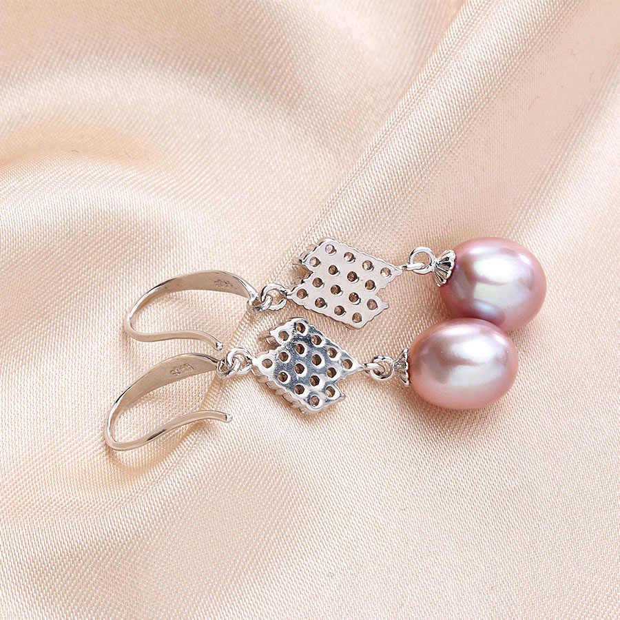 Mulheres Moda Prata Esterlina 925 Brincos Pendurados Elegantes 100% Natural de Água Doce Pérola Brincos de Jóias de Casamento de Luxo
