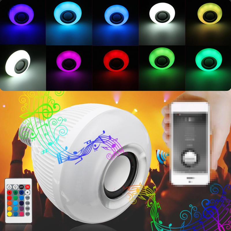 LED Lamp Bulb E27 12W RGB Wireless Bluetooth Speaker Music Player 16 Color Changing LED Light Bulbs With 24 Keys Remote Control kmashi led flame lamp night light bluetooth wireless speaker touch soft light for iphone android christmas gift mp3 music player