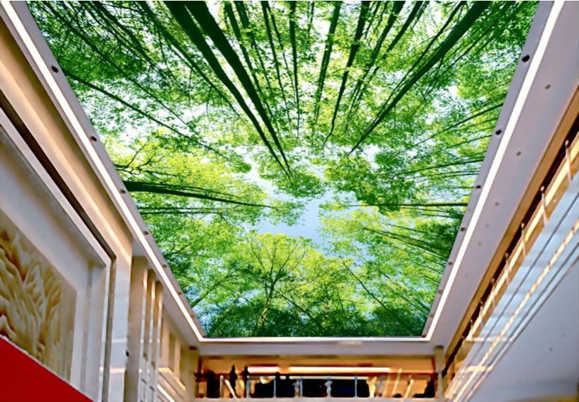 Us 13 9 52 Off Custom Vinyl Ceiling Wallpaper Hd Green Tree Ktv Hotel 3d Wallpaper Murals For Ceiling In Wallpapers From Home Improvement On