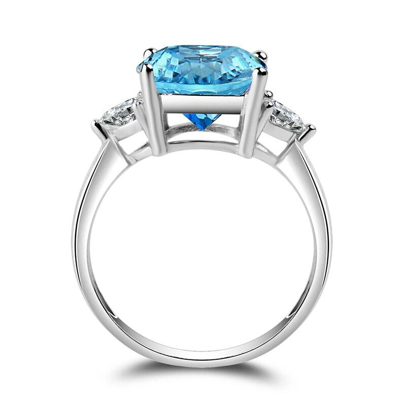 AINUOSHI 3 Stones Ring 925 Silver Blue Topaz Square Ring 5 Carat Cushion Cut Gemstone Engagement Wedding Ring Present for Women