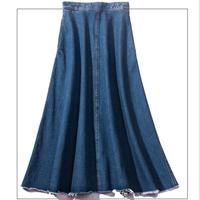 plus size 2XL denim long skirt women high waist jeans skirt autumn casual vintage jeans skirt