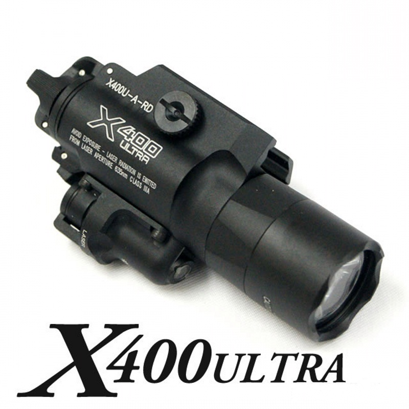 CQC Tactical X400U ULTRA Weapon Light With Red Laser LED Pistol Flashlight Military Airsoft Paintball Hunting Shooting Gun Light element ex276 peq15 battery case military high precision red dot laser integrated with led flashlight red laser and ir lens