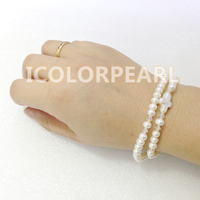 Nice Two-Strand Small White Flatround Natural Freshwater Pearl Cross Bracelet on Elastic Wih Crystal Beads