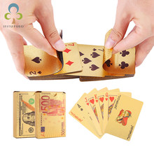 Gold Playing Cards Euro & Dollar Design Playing Card Poker Game Deck Gold Foil Poker Set Plastic Magic Card Waterproof GYH(China)
