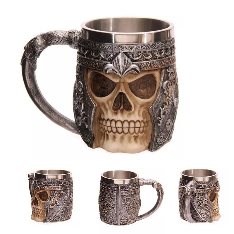 Striking Skull Warrior Tankard Viking Beer Mug Gothic Helmet Drinkware Vessel