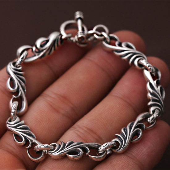 Top Fashion 100% Silver 925 Vintage Vine Toggle Bracelet Men Women 925 Sterling Silver Jewelry Thai Silver Chain Bracelet Gifts fashion 925 sterling silver vintage handmade sugilite bracelet women thai silver gift jewelry ch052535