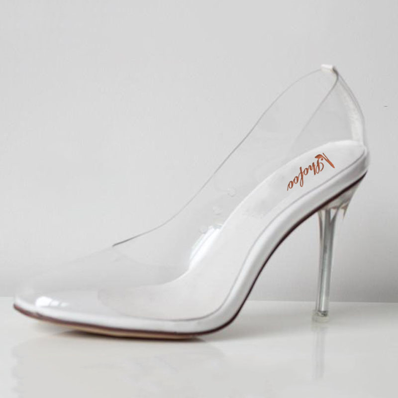 Transparent Shoes Women Bridals Wedding Princess Cinderella Clear Glass PVC  Fetish High Heels Clear Pumps Large Size4-16 Shofoo