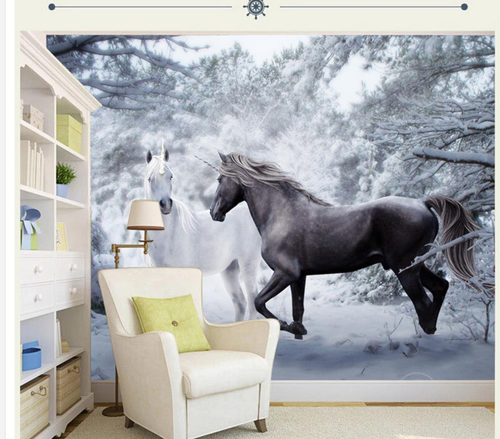 Home Decoration wall 3d wallpaper Snow Horse black and white Artistic  background photo 3d wallpaper(