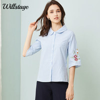 188ac06f52a Willstage Blue Stirped Shirts 5XL Plus size Women Blouse Floral printed  Embroidery Formal Office ladies Work