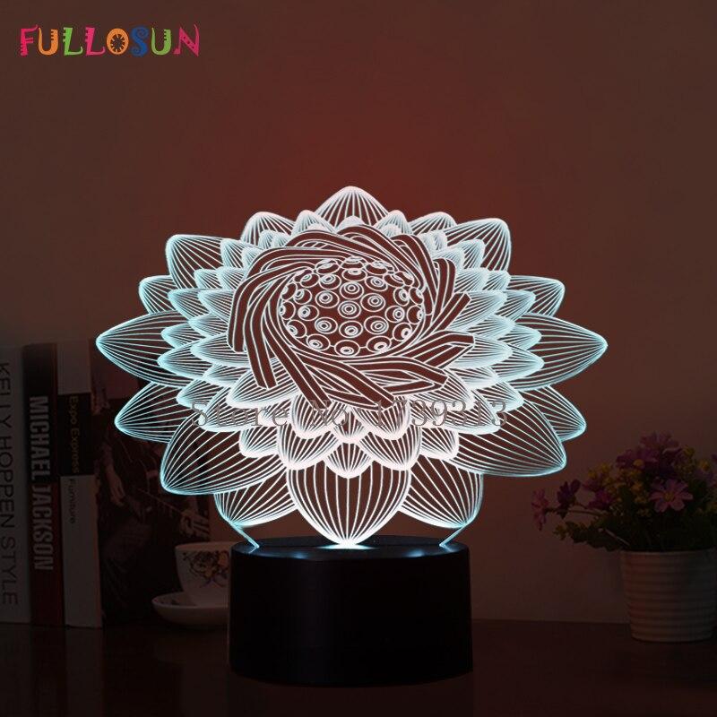 Beautiful 3D LED Lotus Flower Lamp USB 3D LED Night Lights 7 Colors Touch Desk Lamp as Kids Bedroom 3D Lights