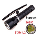 NEW Led flashlight torch 3 * Cree XM-L2 6000 lumens  underwater diving 100M LED flashlight tactical support 26650 battery
