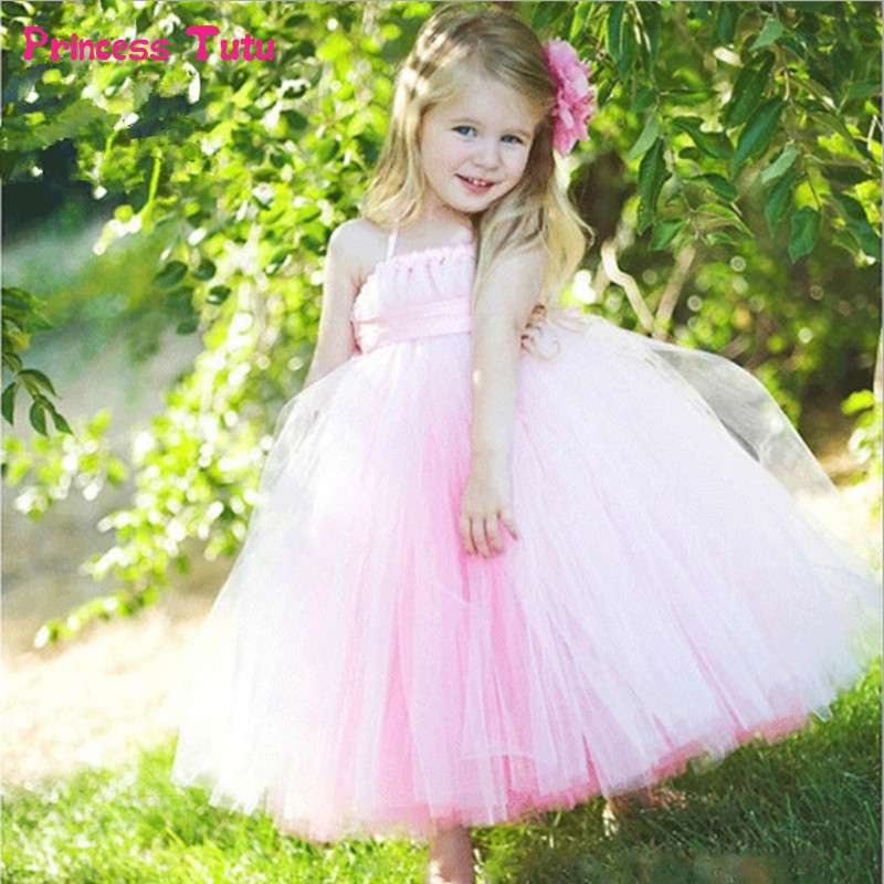 Kids Girls Wedding Flower Girl Dresses Pink Princess Ball Gown for Girls Party Pageant Formal Dress Sleeveless Tulle Tutu Dress muababy big girls princess dress summer children flower sleeveless tulle prom party dresses kids girl wedding evening ball gown