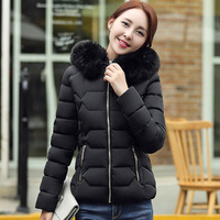 2018 Winter Women Cotton Warm Down Jacket Female Slim Hooded Fur Collar Grey Thickened Parkas Coat Casual Short Snow Wear