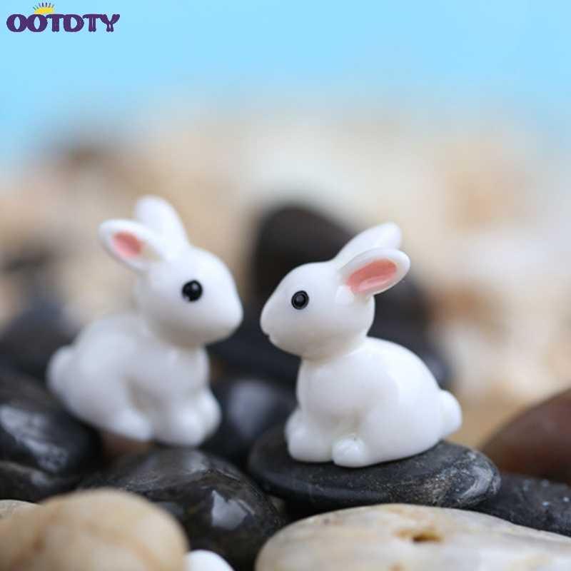 حديقة زخرفة الأبيض أرنب الراتنج تمثال الحرفية مصنع وعاء الجنية DIY ديكور