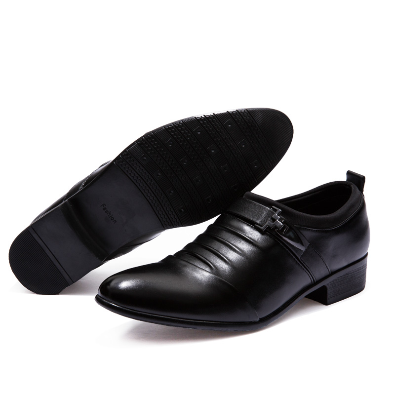 Black leather shoes Oxford pointed toe