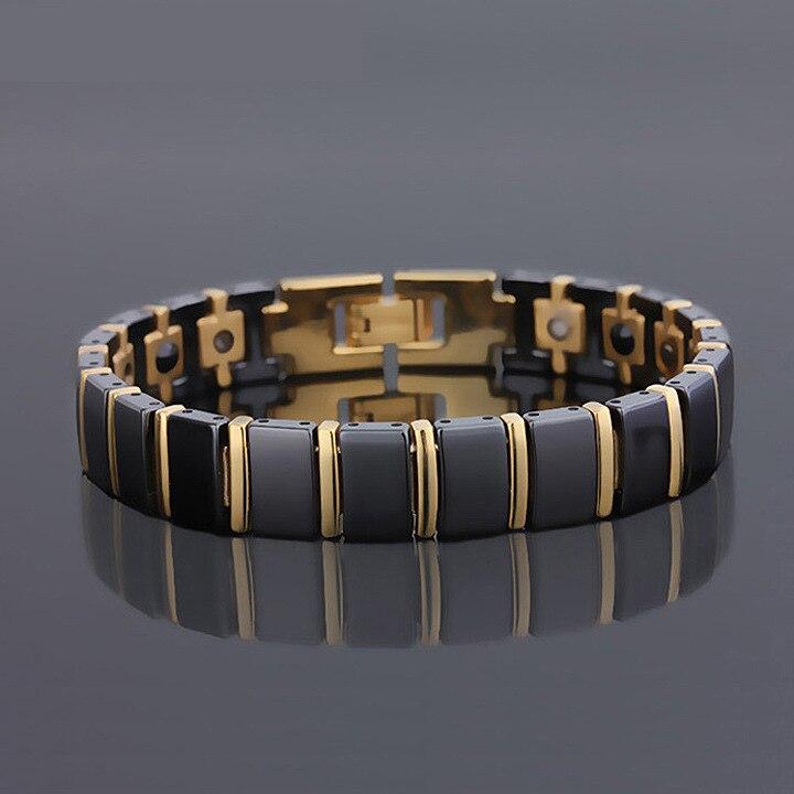 Bracelet de santé magnétique Bio énergie bijoux pour hommes Bracelets en céramique noire Bracelet de bijoux fins Bracelet de soulagement de la douleur