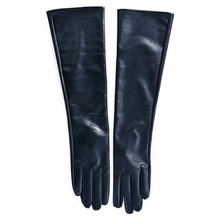 Women\s Faux Leather Elbow Gloves Winter Long Warm Lined Finger