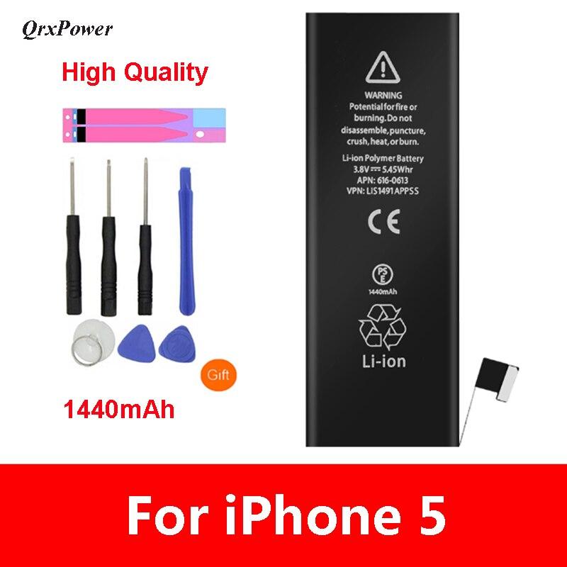QrxPower Alta Qualidade Substituição Bateria Li-ion 1440 mAh Capacidade Real Com Ferramentas para o iphone 5 0 Ciclo 1 ano de garantia