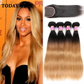 Christmas Deals 10A Brazilian Virgin Hair With Closure Brazilian Straight Hair With Closure Ombre Brazilian Hair Weave Bundles