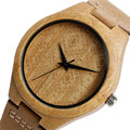 Mens Watches Top Brand Luxury  Minimalist Novel Bamboo Nature Wood Genuine Leather Band Strap Men Women Quartz Watch Fashion
