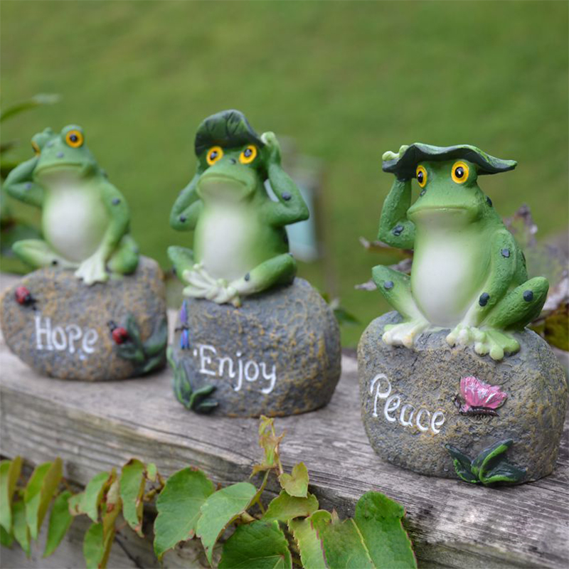 Garden Frogs Statue Outdoor Artificial Frogs With Pastoral Design Resin 3  Pieces A Set Garden Decor Home Decor Art In Figurines U0026 Miniatures From  Home ...