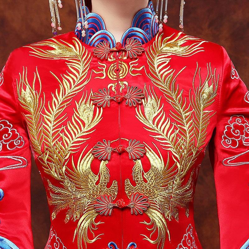 Vintage Blue Cheongsam Modern Chinese Traditional Wedding Dress Women Vestido Oriental Collars Elegent Long Qi Pao Size S-XXL 6