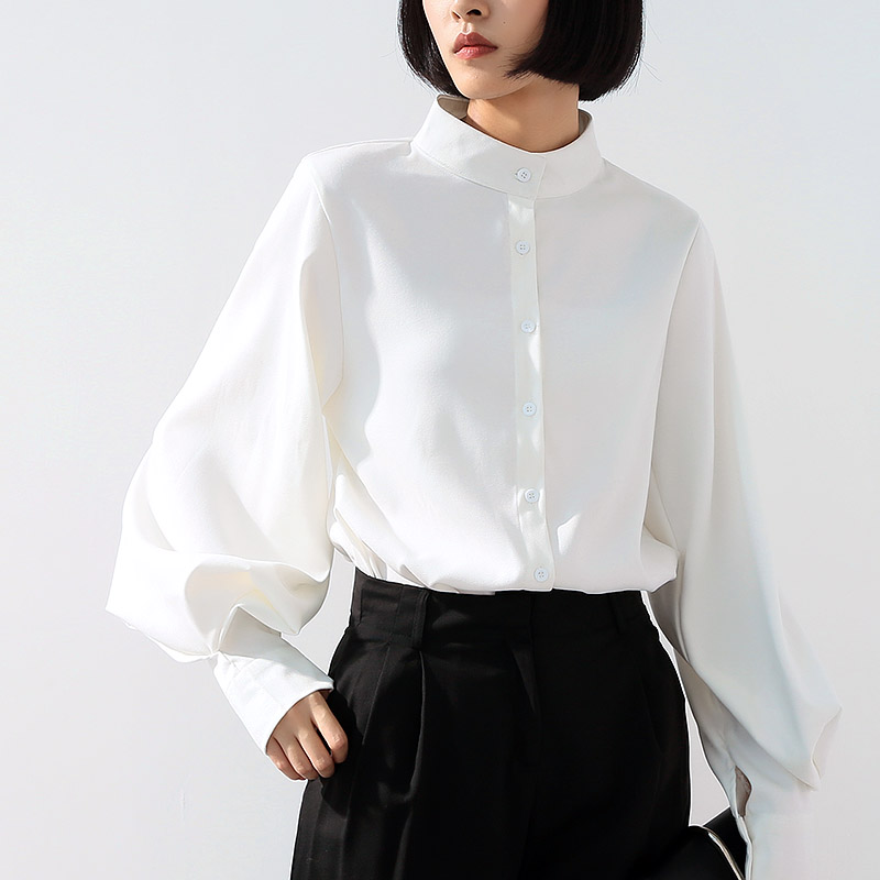 Long Wide Lantern Sleeve Blouse Women Tops And Blouses Vintage Stand Collar Button Down Shirts Female 2019 Spring Fashion Tops by Ecoatup