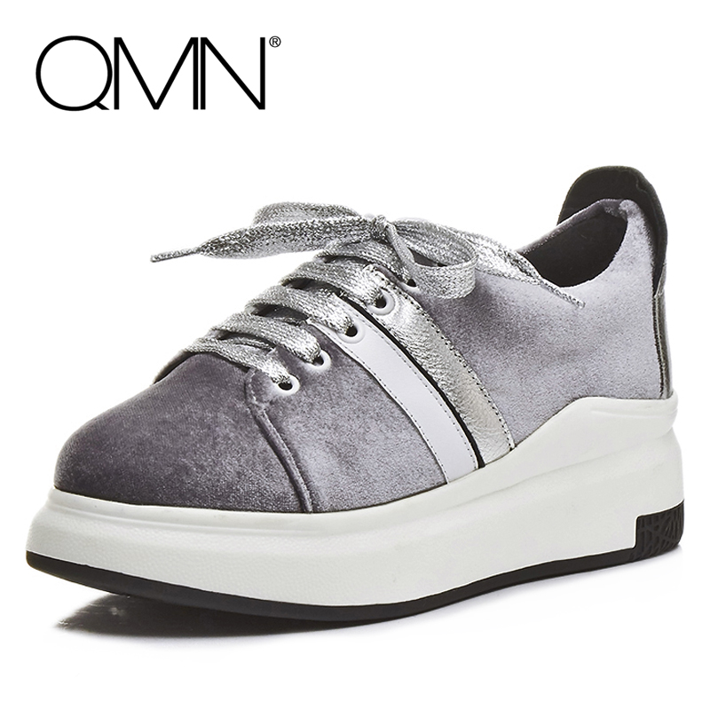 ФОТО QMN women leather-paneled velvet platform flats Women Round Toe Lace Up Flat Platform Casual Shoes Woman