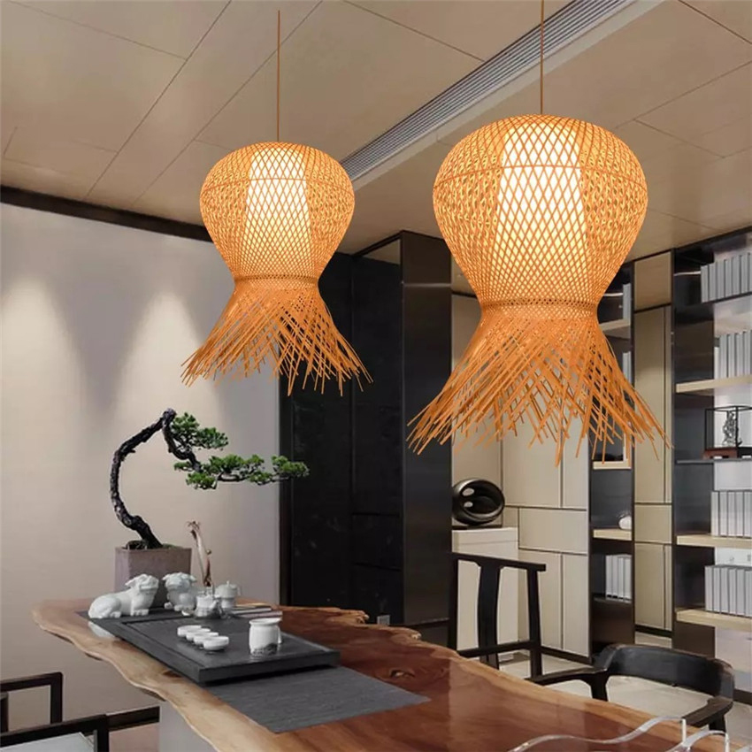 Us 66 07 9 Off Country Handmade Bamboo Weaving Pendant Lights Personality Restaurant Living Room Hanging Lamps Lighting Fixtures In