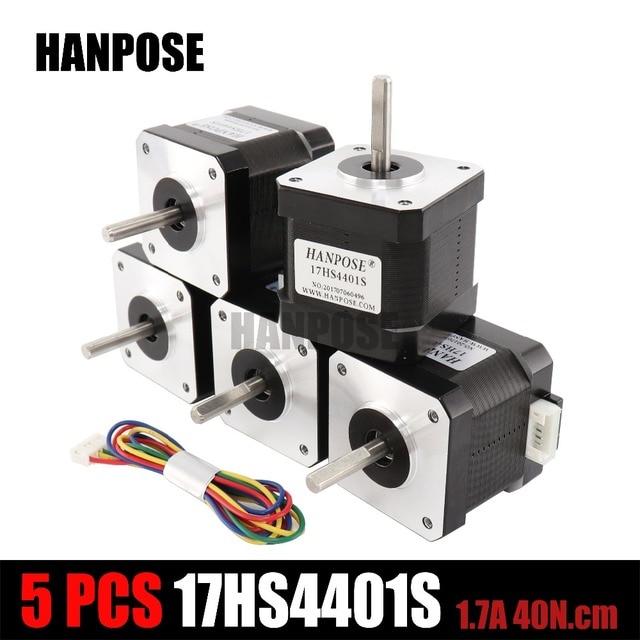 Best Price 5Pcs 3D printer 4-lead Nema17 Stepper Motor 42 motor Nema 17 motor 42BYGH 1.7A 65oz.in (17HS4401S) motor for CNC XYZ