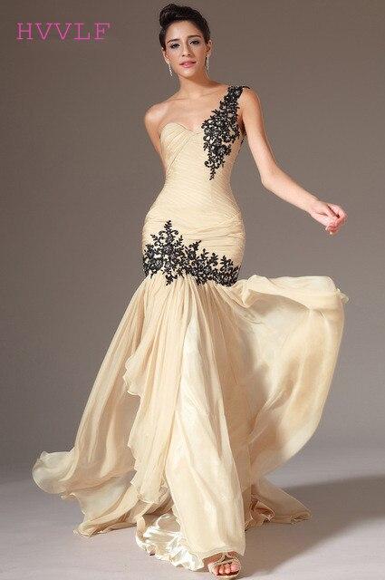 Champagne   Evening     Dresses   2019 Mermaid One-shoulder Chiffon Appliques Lace Long   Evening   Gown Prom   Dresses   Robe De Soiree